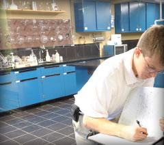 iodine chemist working in lab